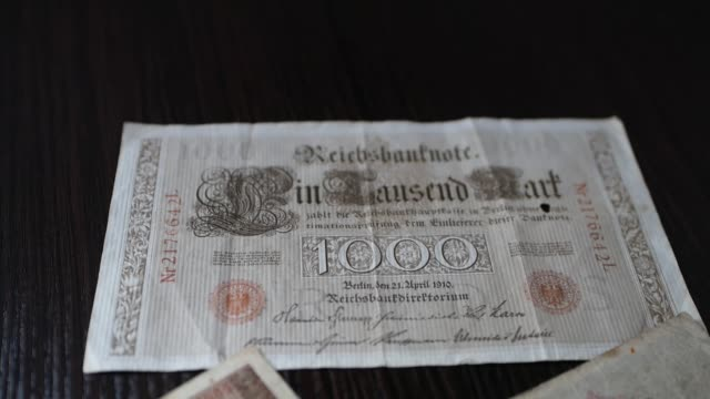 Сlose-up vintage banknotes of German