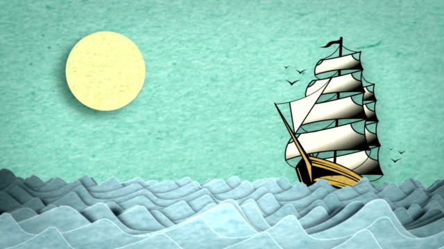 Lost at Sea This is a stylized animation of a ship in wavy seas that has a hand done analog feel.  This graphic has a subtle paper texture. industrial ship stock videos & royalty-free footage