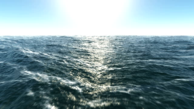 Lost at sea Ocean fly over,HD high speed animation just above the ocean waves facing the sun  surface level stock videos & royalty-free footage