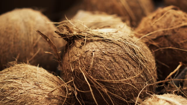 a lot of brown coconut closeup spining on 4k background in store for buyer. - кокос стоковые видео и кадры b-roll