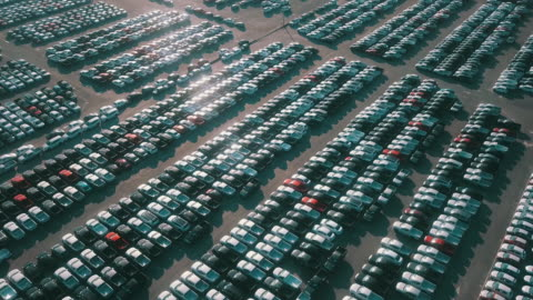 Lot of Export New car for sale Car, Aerial View, Factory, Antenna - Aerial car stock videos & royalty-free footage