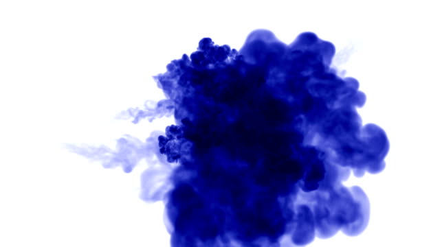 A lot of flows of isolated blue ink injects. Blue dye swirls in water , shot in slow motion. Use for inky background or backdrop with smoke or ink effects, alpha channel is on use for it luma matte video