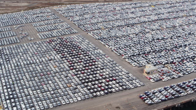 Lot of New Cars on Dock in Port - Aerial Shot - vídeo