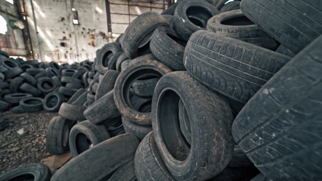 Lot of old tires from cars