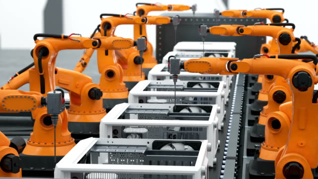 A Lot of Robotic Arms Assembling Computers On Conveyor Belt. Modern Advanced Automated Process. Looped 3d Animation. Business and Technology Concept. video