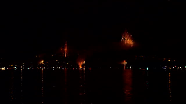 A lot of smoke from the fireworks on the holiday in the city of Konstanz in Germany. video