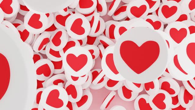 Lots of falling hearts or social media likes. Concept of social media popularity