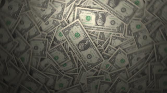 Lots of One Dollar Bills. 4k video