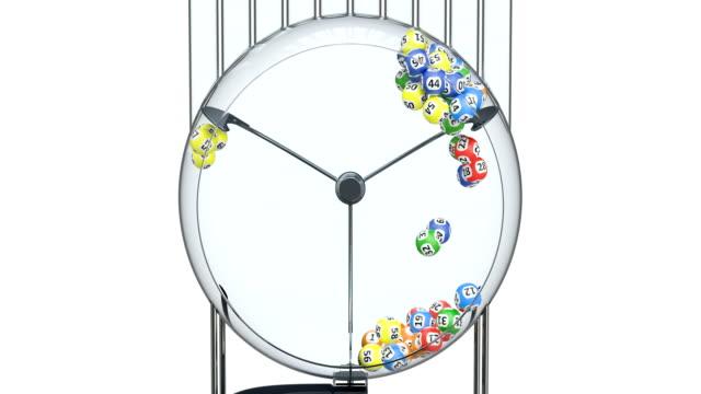 lotteri maskin med lotteri bollar inne, animering. 3d-rendering - bingo bildbanksvideor och videomaterial från bakom kulisserna