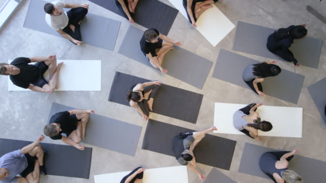 Lotus Pose Large multi-ethnic group of fitness men and women dressed in grey, white and black laying on their backs on monochrome yoga mats in a relaxing shavasana with their eyes closed. lotus position stock videos & royalty-free footage