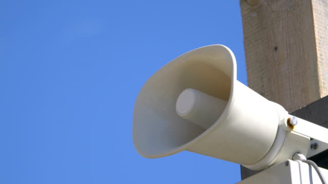 Loudspeaker on the pole in 4k slow motion 60fps video
