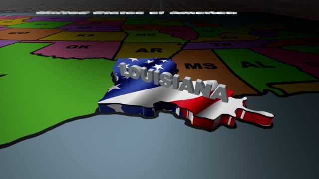 Louisiana pull out from USA states abbreviations map video