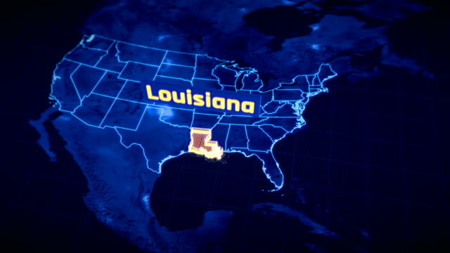 us louisiana state border 3d visualization, modern map outline, travel - gulf coast states stock videos & royalty-free footage