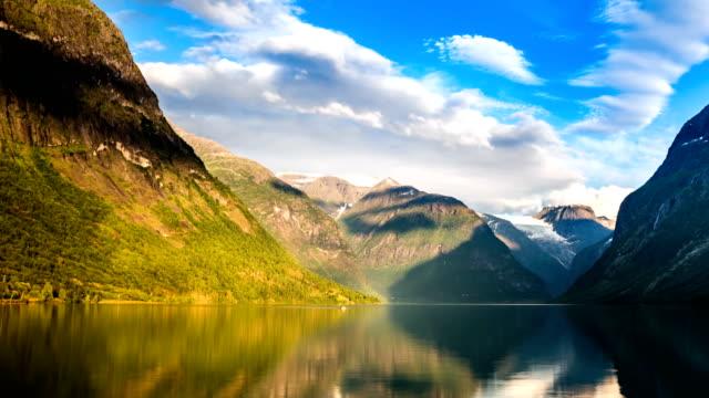 lovatnet lake beautiful nature norway timelapse. - fiordo video stock e b–roll