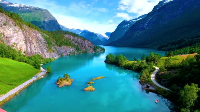 lovatnet lake Beautiful Nature Norway. video