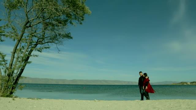 Love couple walking on the beach. video