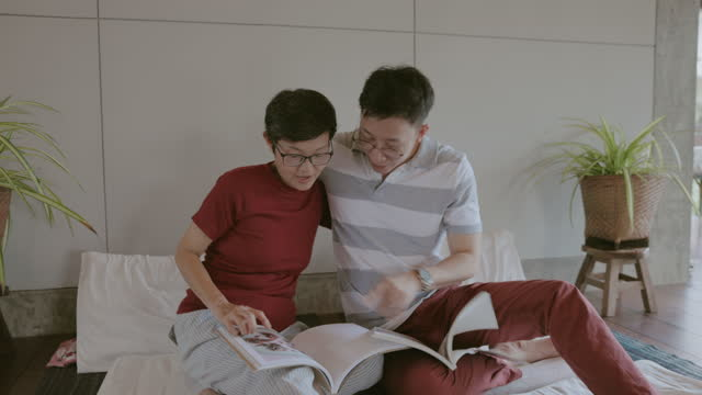 Love emotion while reading book together-stock video video