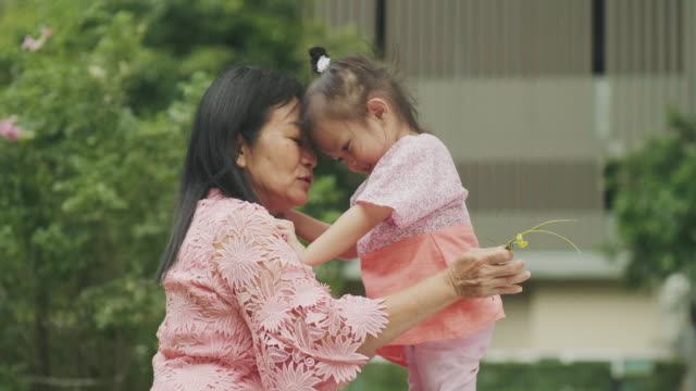 Love emotion with Thai grandmother and her granddaughter Love emotion with Thai grandmother and her granddaughter thai ethnicity stock videos & royalty-free footage