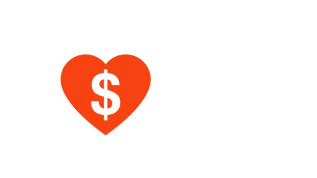 Love Heart Beating With A Dollar Sign Illustrative Cinemagraph Style