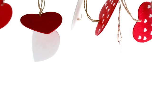 amore cuore decorazioni in attesa - feltro video stock e b–roll