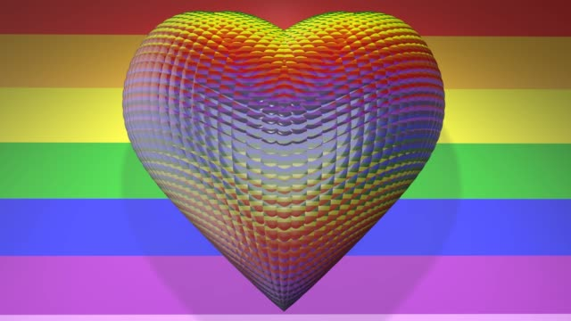 Love Heart Gay Pride LGBT Mardi Gras graphic title 3D render LGBTQIA+ Community Gay Pride LGBT Mardi Gras graphic title 3D render. The letters LGBT & LGBTQIA refer to lesbian, gay, bisexual, transgender, queer or questioning, intersex, and asexual or allied. cisgender stock videos & royalty-free footage