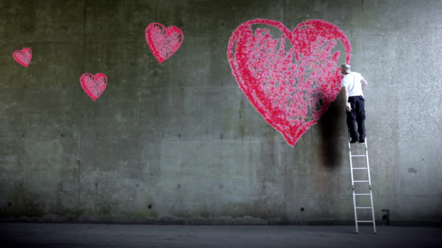 love heart graffiti wall - valentines day stock videos and b-roll footage