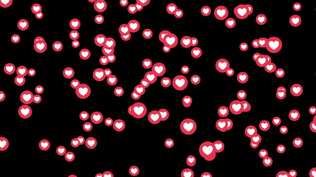 love heart icons on Facebook live video isolated on black background. Social media network marketing. Application advertising. 3d abstract illustration