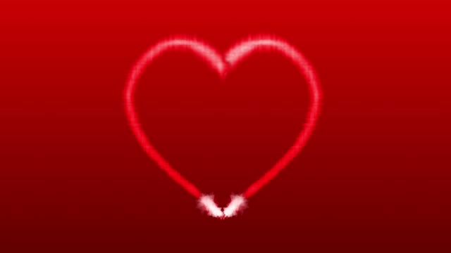 Love heart shaped animation on red background for valentines day, 4K video video