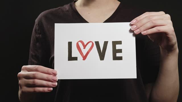 love icon romantic message woman hands heart