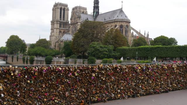 Love lock bridges near Notre Dame de Paris, France video