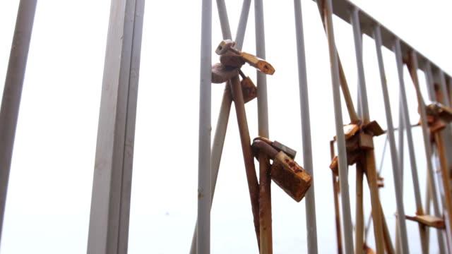 Love locks on the bridge video