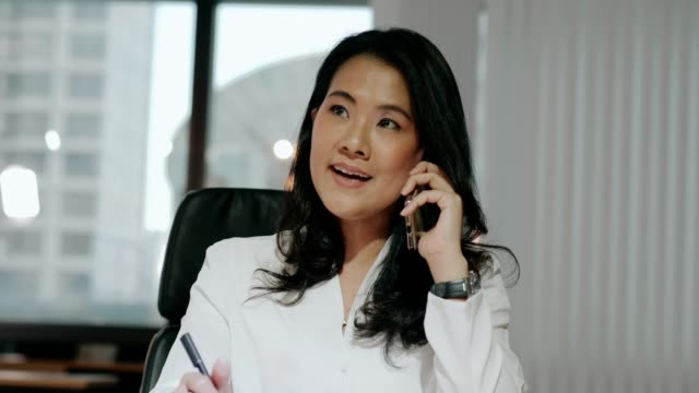 I love my job, businesswoman manager talking to client while working at the office with positive emotion video