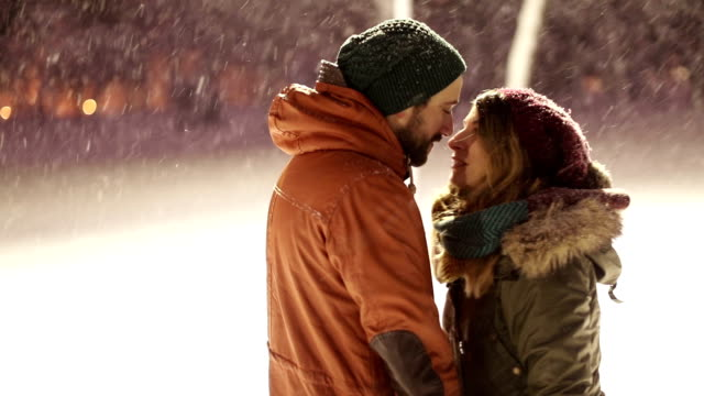 love on the snow - date night stock videos & royalty-free footage