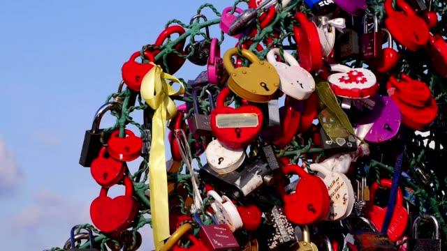 Love padlocks, closeup. video