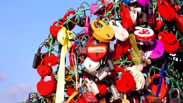 Love padlocks. video