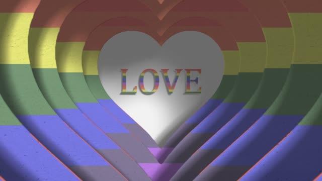 vídeos de stock, filmes e b-roll de adoro arco-íris gay orgulho lgbt comunidade mardi gras papel recorte título 3d render - cisgênero