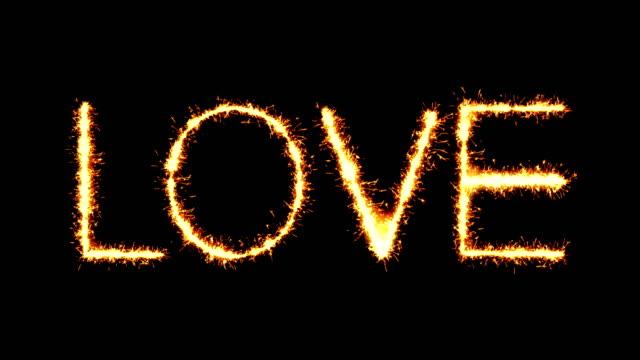 Love Text Sparkler Glitter Sparks Firework Loop Animation