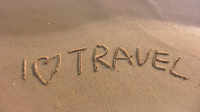 I love travel word on beach video