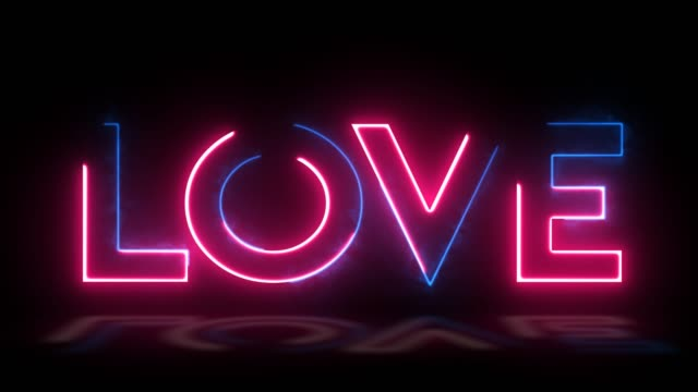 Love. Valentines day. Wedding. Neon text with shadow. Modern trend design, night neon signboard, night bright advertising, light banner, light art. Neon blue and pink light blinking on a dark backgraund.