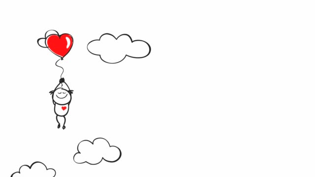 Love. Funny little man flying on a balloon in the shape of a heart, video footage with graphic animation. valentines day stock videos & royalty-free footage