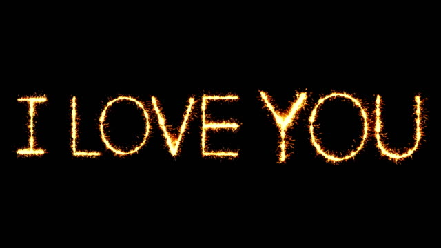 I Love You Text Sparkler Glitter Sparks Firework Loop Animation