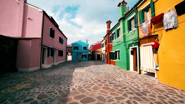 Lovely buildings in Burano Island, Venice Italy video