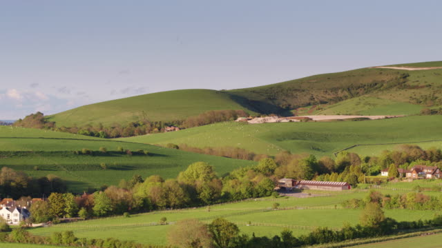 lovely scenery on the sussex downs - drone shot - south downs video stock e b–roll