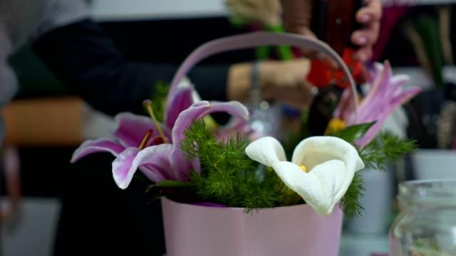 vidéos et rushes de belle femme sereine, organisant un panier coloré de fleurs - composition florale