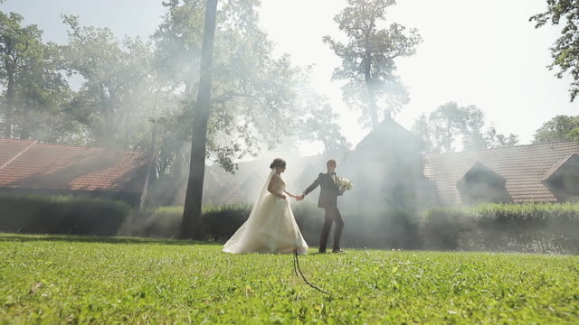 lovely young caucasian bride and groom walking in the park. wedding couple. happy family. newlyweds. man and woman in love. - prendersi cura del corpo video stock e b–roll