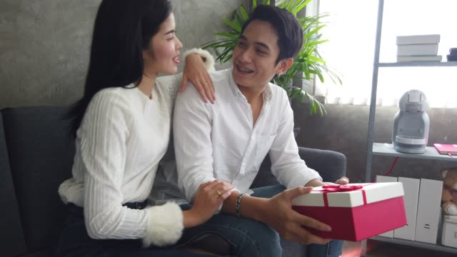 Lover in valentine's day, Give Present Box, Rose and Hug Kiss together