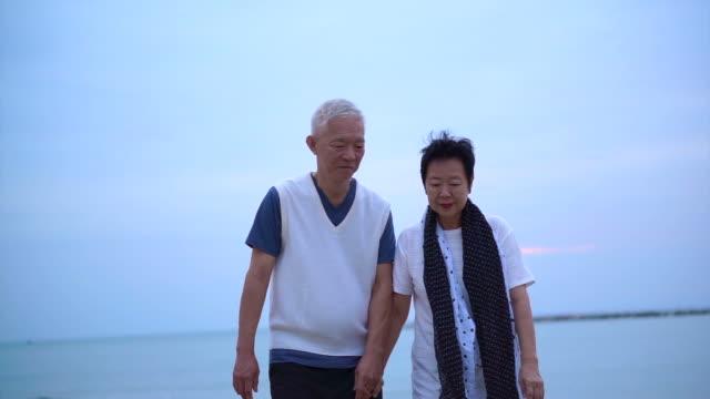 愛するアジア シニア カップルの海の日の出で一緒に幸せです - シニア点の映像素材/bロール