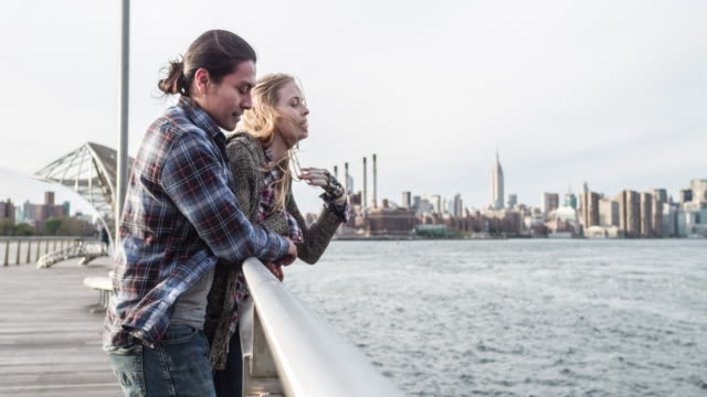 Loving couple enjoying the views of New York City video