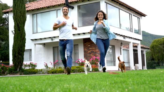 stockvideo's en b-roll-footage met verliefde paar spelen halen de bal met hun drie honden - garden house