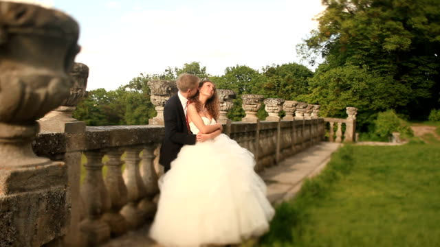 loving groom kisses his beautiful bride in neck, embracing near old stone balustrade at park - balaustrata video stock e b–roll